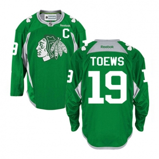 Reebok Chicago Blackhawks 19 Jonathan Toews Authentic Green Practice  Jersey