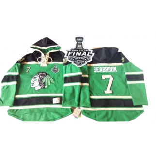 Old Time Hockey Chicago Blackhawks 7 Brent Seabrook Authentic Green St. Patrick's Day McNary Lace Hoodie 2015 Stanley Cup Jersey