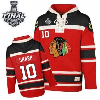 Old Time Hockey Chicago Blackhawks 10 Youth Patrick Sharp Premier Red Sawyer Hooded Sweatshirt 2015 Stanley Cup Jersey