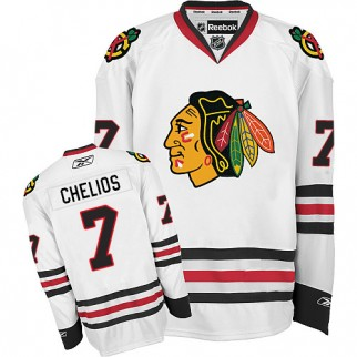 Reebok Chicago Blackhawks 7 Chris Chelios Premier White Away Jersey